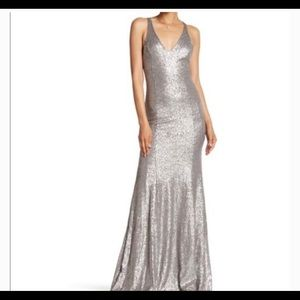 NEW Jay Godfrey Silver Sequin Cut Out Back Gown 12
